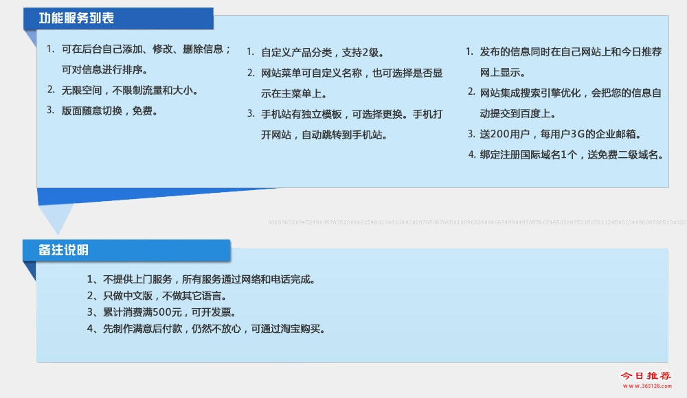 钟祥模板建站功能列表