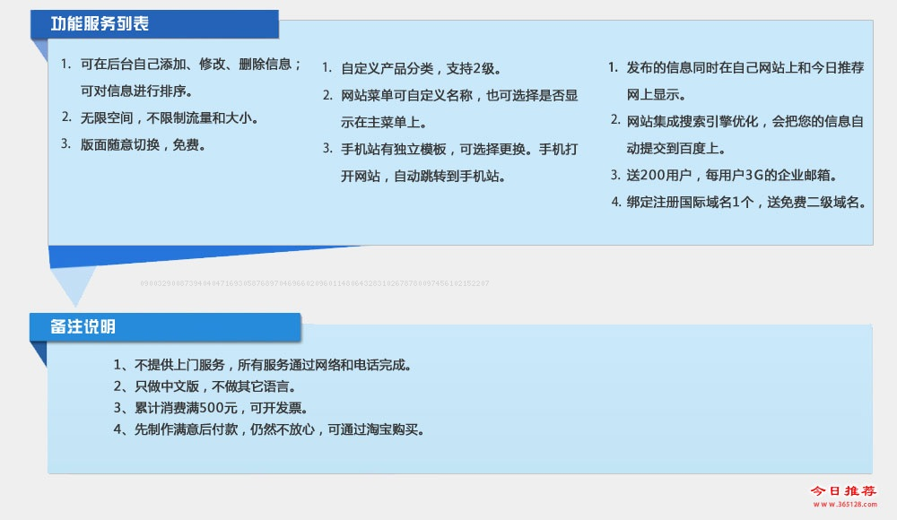 五指山模板建站功能列表