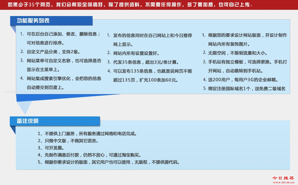 增城建网站功能列表