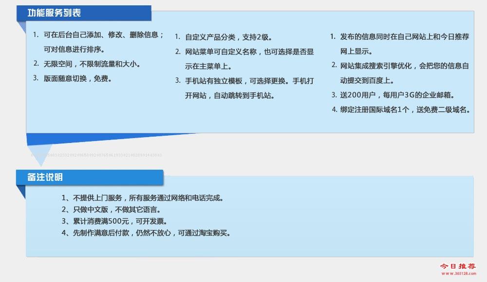 章丘模板建站功能列表
