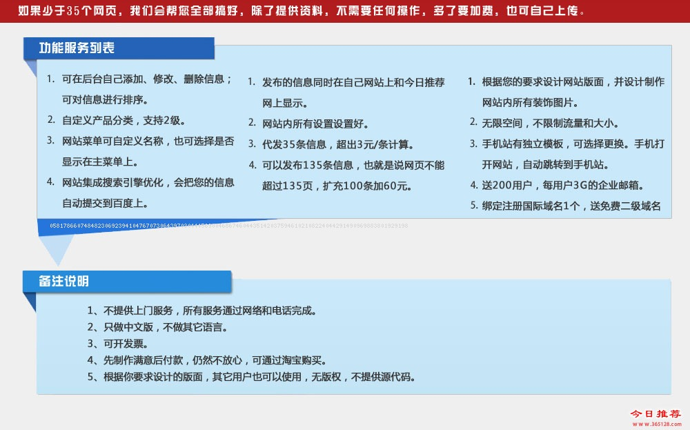章丘建网站功能列表